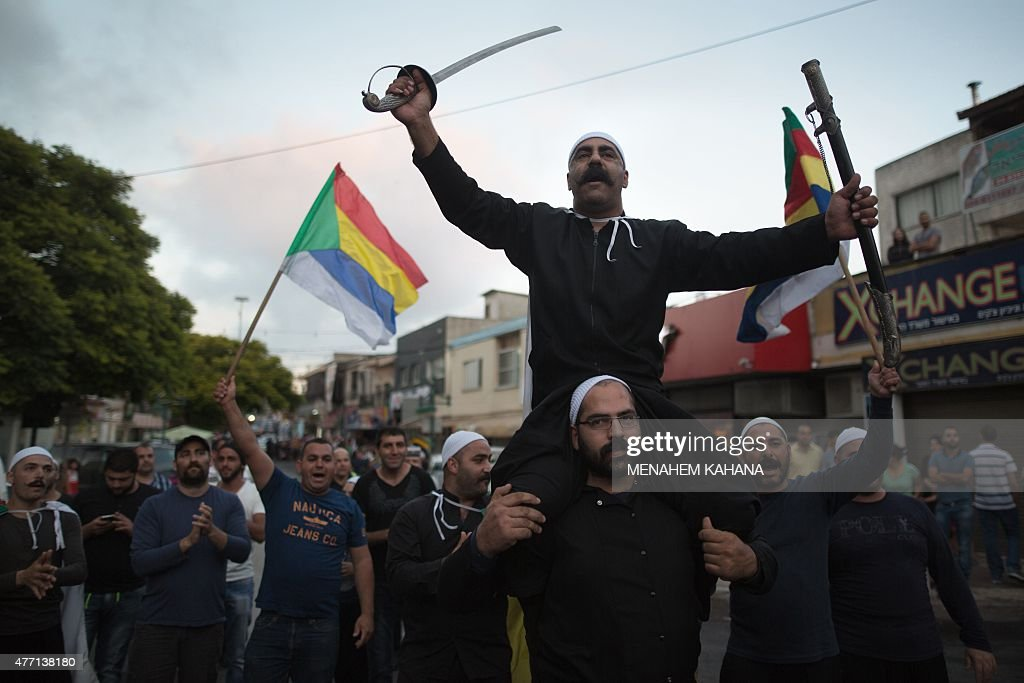 Israelis of the Druze minority take part in a demonstration of some two thousand people in the northern Israeli Druze town of Daliyat alCarmel on...