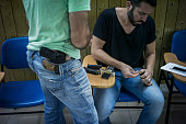 Israelis prepare to shoot in a gun shooting range on October 15 2015 in Jerusalem Israel Israeli citizens are growing fearful for their safety...