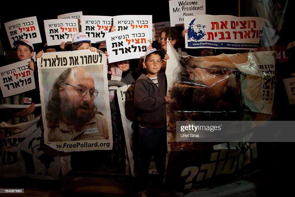 Israelis protest against US President Barack Obama as they call for the release of Jonathan Pollard, a Jewish American who was jailed for life in 1987 on charges of spying on the United States, during a demonstration outside the Israeli President's residence on March 19, 2013 in Jerusalem, Israel. Obama will make his first visit as President to the region tomorrow, and his itinerary will include meetings with the Palestinian and Israeli leaders as well as a visit to the Church of the Nativity in Bethlehem.