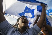 Israelis take part in a demonstration in Tel Aviv called by members of the Ethiopian community against alleged police brutality and institutionalised...
