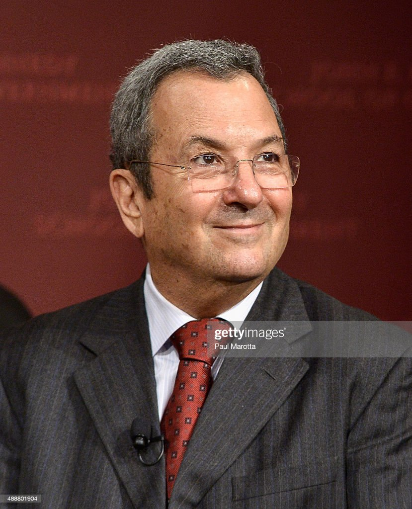 Israel's 10th Prime Minister Ehud Barak speaks at 'A Conversation with Ehud Barak' at the Harvard University Kennedy School of Government John F...