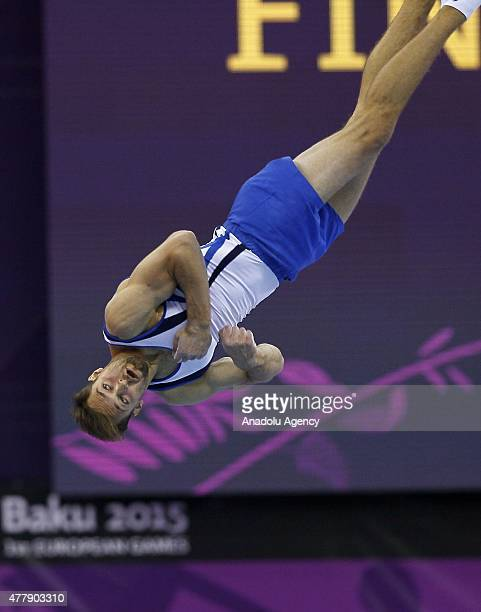 Israel's Alexander Shatilov competes in the Men's Parallel Bars final on day eight of the Baku 2015 European Games at the National Gymnastics Arena...
