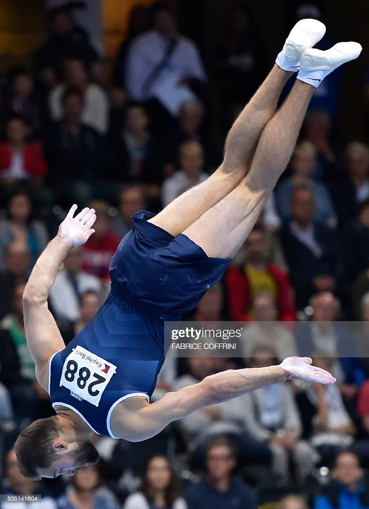 Israels Alexander Shatilov performs during the Mens Floor competition of the European Artistic Gymnastics Championships 2016 in Bern, Switzerland on May 29, 2016. / AFP / FABRICE