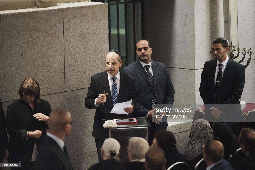 Israel's Ambassador to Egypt Yaakov Amitai (C) gives a speech during the funeral of the president of the Egyptian Jewish Community Carmen Weinstein at the Adly Synagogue on April 18, 2013 in Cairo, Egypt. Carmen Weinstein, the leader of Egypt's tiny remaining Jewish community, died on Saturday at the age of 84, a friend and lawyer said. Weinstein, who fought for the preservation of Jewish synagogues and heritage sites in Egypt, died of natural causes, said Magda Haroun, one of the few Jews left in the Arab country.