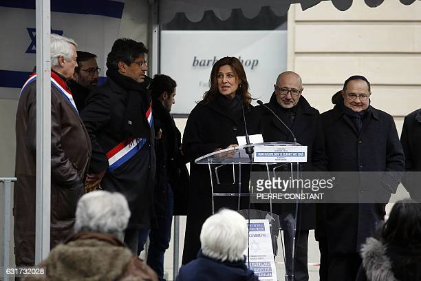 Israel's Ambassador to France Aliza BinNoun flanked by Paris' mayor of the 16th arrondissement Claude Goasguen French Member of Parliament Meyer...