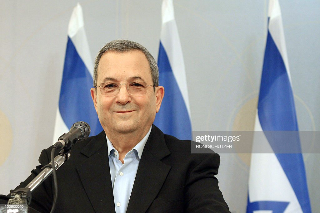 Israel's Defence Minister Ehud Barak gives a press conference on November 26, 2012 in Tel Aviv to announce he is quitting political life after a decades-long career that also saw him serve as prime minister. Barak, 70, announces he would retire from politics after a new government is formed in the wake of January elections.