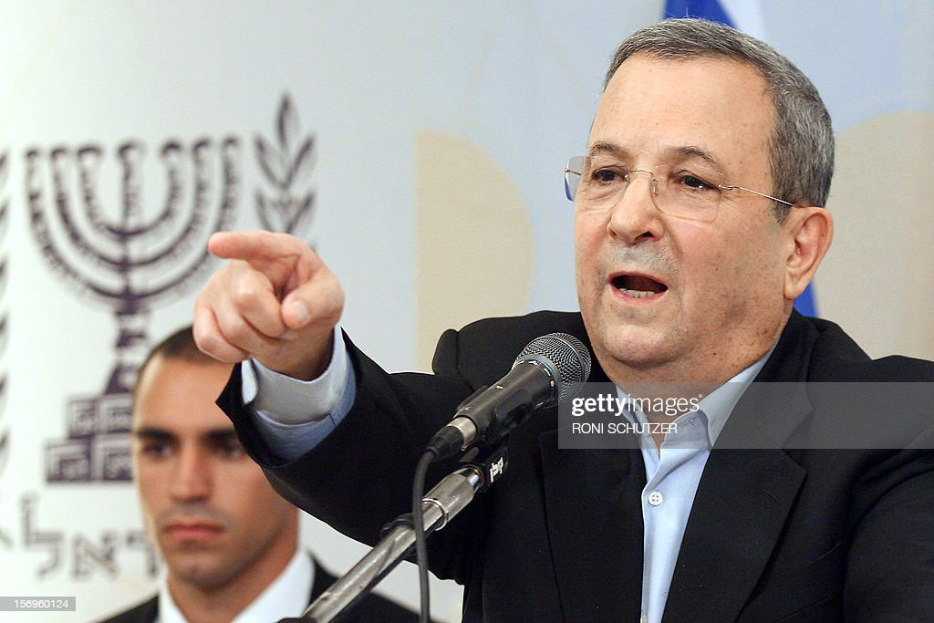 Israel's Defence Minister Ehud Barak gives a press conference on November 26, 2012 in Tel Aviv to announce he is quitting political life after a decades-long career that also saw him serve as prime minister. Barak, 70, announced he would retire from politics after a new government is formed in the wake of January elections.