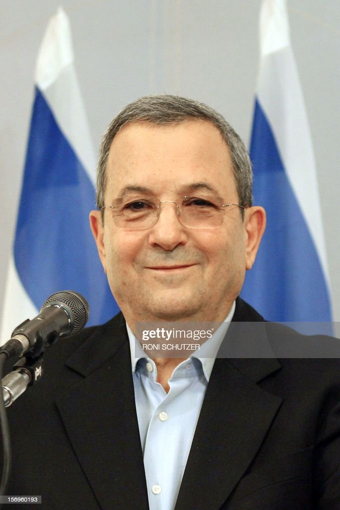 Israel's Defence Minister Ehud Barak gives a press conference on November 26, 2012 in Tel Aviv to announce he is quitting political life after a decades-long career that also saw him serve as prime minister. Barak, 70, announced he would retire from politics after a new government is formed in the wake of January elections. AFP PHOTO / RONI SCHUTZER OUT