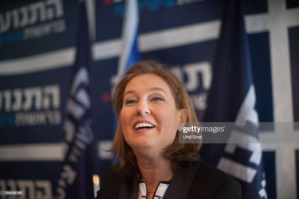 Israel's former foreign minister <a gi-track='captionPersonalityLinkClicked' href=/galleries/search?phrase=Tzipi+Livni&family=editorial&specificpeople=537394 ng-click='$event.stopPropagation()'>Tzipi Livni</a>, now head of the new political party 'The Movement' gives a press conference at her pary's headquarters on January 15, 2013 in Tel Aviv, Israel. Livni will go to the parliamentary elections on January 22 promising to push for peace with the Palestinians.