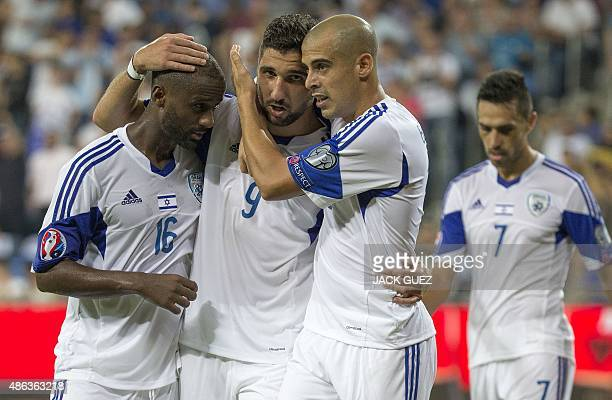 Israel's forward Munas Dabbur reacts after scoring a goal during their Euro 2016 qualifying football match against Andorra at the Sammy Ofer Stadium...