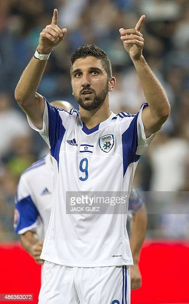 Israel's forward Munas Dabbur reacts after they scored a goal during their Euro 2016 qualifying football match against Andorra at the Sammy Ofer...