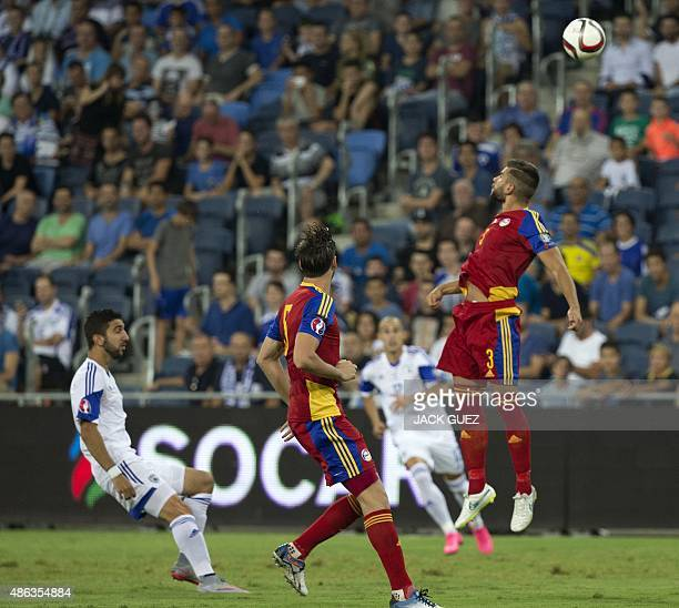 Israel's forward Munas Dabbur vies for the ball with Andorra's defender Moises San Nicolas during their Euro 2016 qualifying football match at the...