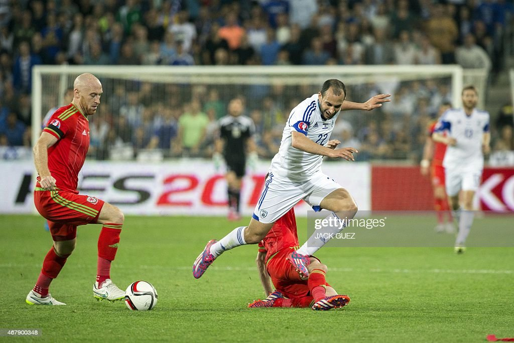 Israel's forward Omer Damari is tackled by Wales' midfielder Joe Allen during the Euro 2016 qualifying football match between Israel and Wales at the...