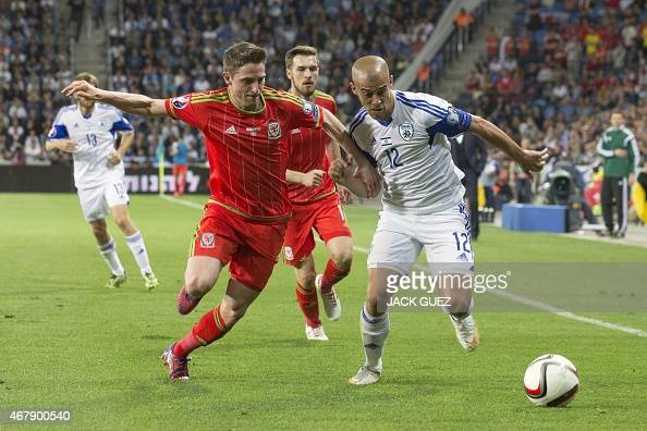 Israel's forward Tal Ben Haim fights for the ball with Wales' midfielders Joe Allen during the Euro 2016 qualifying football match between Israel and...
