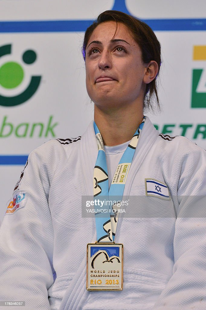 Israel's gold medallist Yarden Gerbi stands on the podium during the medal ceremony for the women's -63kg category, during the IJF World Judo Championship, in Rio de Janeiro, Brazil, on August 29, 2013.