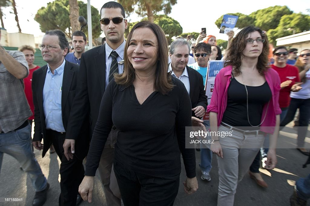 Israel's Labour party leader Shelly Yachimovich arrives at a polling station to cast her vote during her party's central primary convention on November 29, 2012 in the Mediterranean coastal city of Tel Aviv.