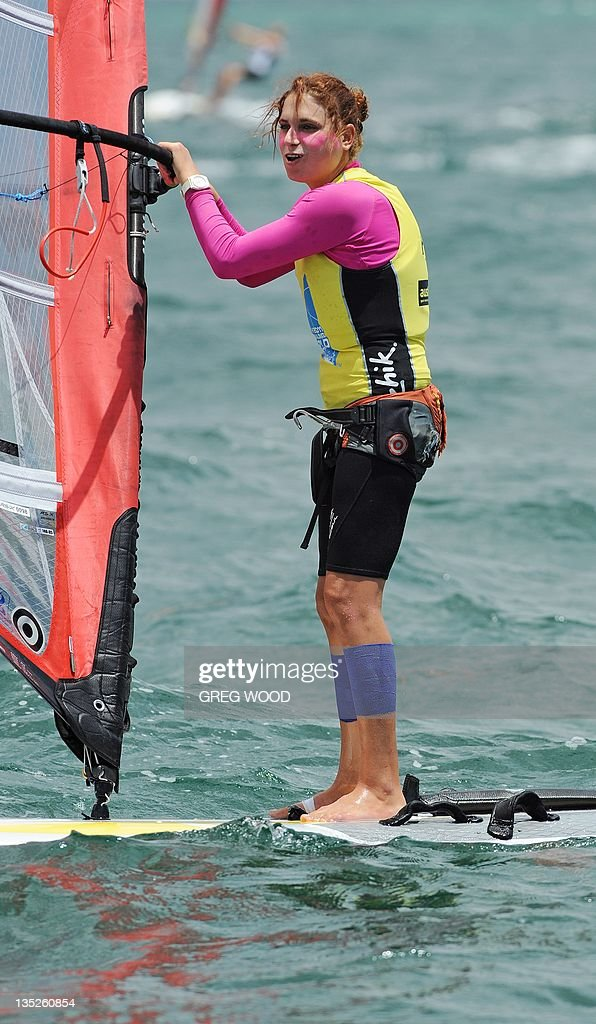 Israel's Lee Korzits prepares for a start in the first Gold Fleet race in the
