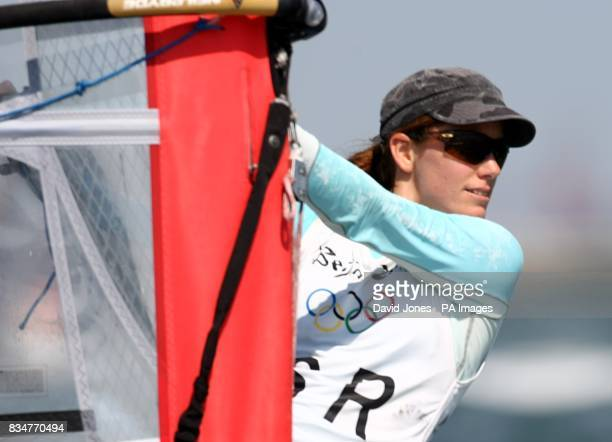 Israel's Maayan Davidovich sails in the final round of the Women's RSX Sailing Competition at the Olympic Games' Sailing Centre in Qingdao on day 12...