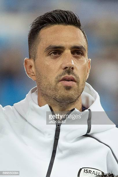 Israel's midfielder Eran Zahavi poses for a picture before a Russia 2018 FIFA World Cup European Group G qualifying football match between Israel and...