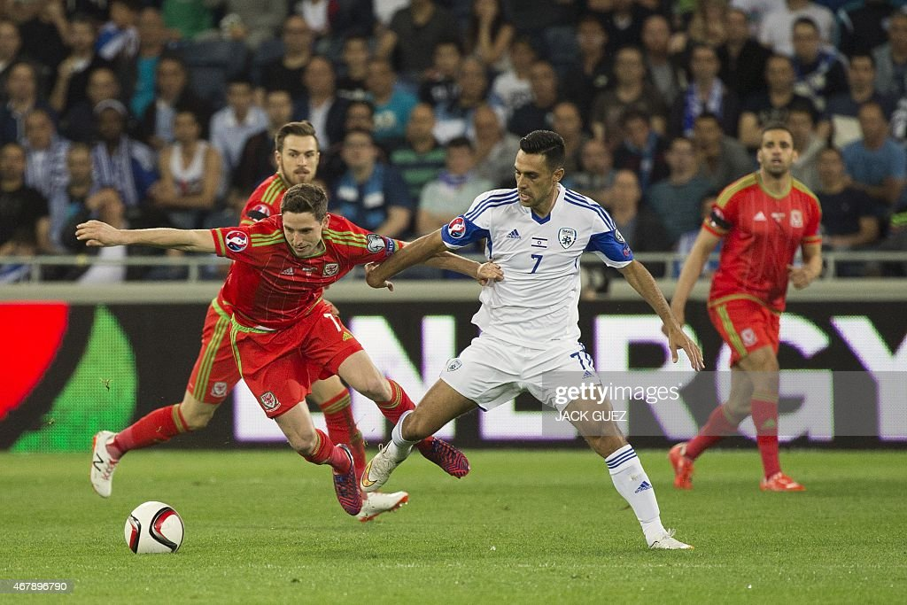 Israel's midfielder Eran Zahavi vies for the ball with Wales' midfielder Joe Allen during the Euro 2016 qualifying football match between Israel and...
