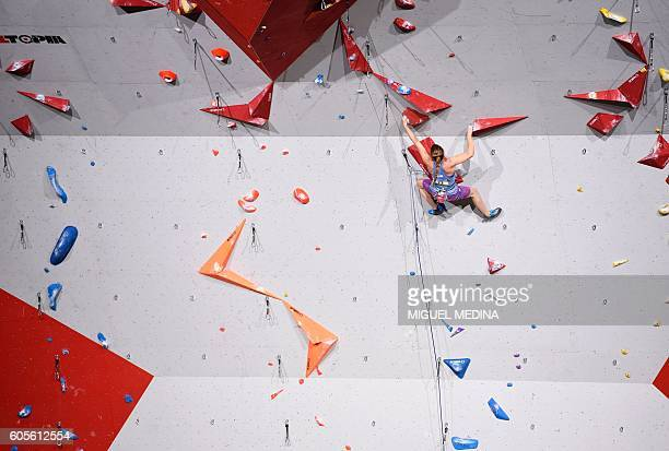 Israel's Netta Fredman competes in the Women's Lead qualification at the indoor World Climbing and Paraclimbing Championships 2016 at the Accor...