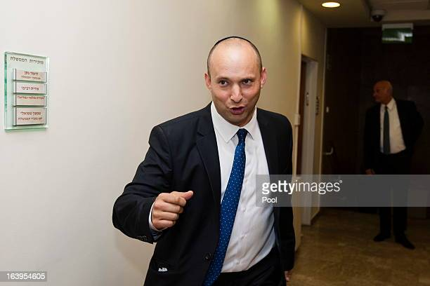 Israel's newly swornin Minister of Industry Trade and Labor and head of Israel's Jewish Home party Naftali Bennett arrives for the first Cabinet...