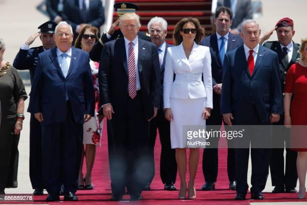 Israel's President Reuven Rivlin US President Donald Trump US First Lady Melania Trump and Israel's Prime Minister Benjamin Netanyahu stand still...