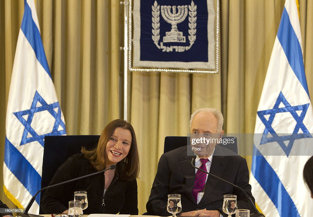 Israel's President <a gi-track='captionPersonalityLinkClicked' href=/galleries/search?phrase=Shimon+Peres&family=editorial&specificpeople=201775 ng-click='$event.stopPropagation()'>Shimon Peres</a> sits with Labor party leader Shelly Yachimovich during their meeting at the President's residence on January 31, 2013 in Jerusalem, Israel. Israel has begun its post-election process of forming a new government with President <a gi-track='captionPersonalityLinkClicked' href=/galleries/search?phrase=Shimon+Peres&family=editorial&specificpeople=201775 ng-click='$event.stopPropagation()'>Shimon Peres</a> hosting the heads of the major political parties at his residence for consultations before deciding on who to choose as prime minister-designate to form a new coalition.