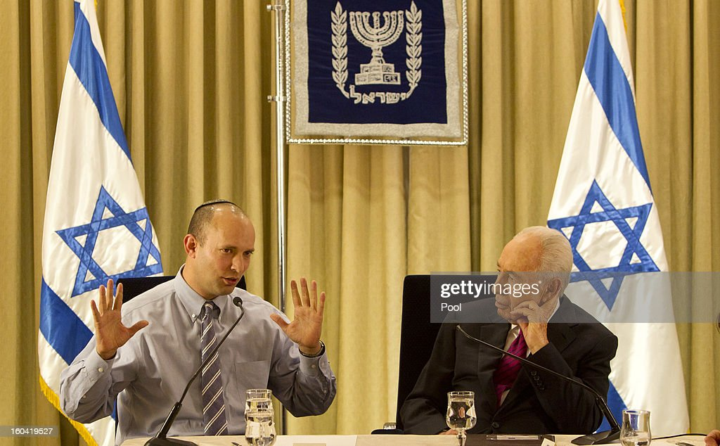 Israel's President <a gi-track='captionPersonalityLinkClicked' href=/galleries/search?phrase=Shimon+Peres&family=editorial&specificpeople=201775 ng-click='$event.stopPropagation()'>Shimon Peres</a> sits with <a gi-track='captionPersonalityLinkClicked' href=/galleries/search?phrase=Naftali+Bennett&family=editorial&specificpeople=6632880 ng-click='$event.stopPropagation()'>Naftali Bennett</a>, head of Israel's Jewish Home party during their meeting at the President's residence on January 31, 2013 in Jerusalem, Israel. Israel has begun its post-election process of forming a new government with President <a gi-track='captionPersonalityLinkClicked' href=/galleries/search?phrase=Shimon+Peres&family=editorial&specificpeople=201775 ng-click='$event.stopPropagation()'>Shimon Peres</a> hosting the heads of the major political parties at his residence for consultations before deciding on who to choose as prime minister-designate to form a new coalition.