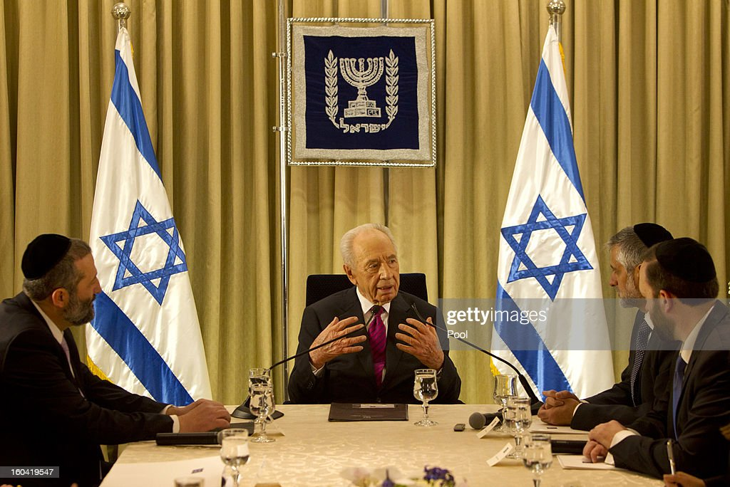 Israel's President <a gi-track='captionPersonalityLinkClicked' href=/galleries/search?phrase=Shimon+Peres&family=editorial&specificpeople=201775 ng-click='$event.stopPropagation()'>Shimon Peres</a> (C) sits with shas party leaders Aryeh Deri, (L) <a gi-track='captionPersonalityLinkClicked' href=/galleries/search?phrase=Eli+Yishai&family=editorial&specificpeople=655754 ng-click='$event.stopPropagation()'>Eli Yishai</a>, (2nd R) and Ariel Attias, during their meeting at the President's residence on January 31, 2013 in Jerusalem, Israel. Israel has begun its post-election process of forming a new government with President <a gi-track='captionPersonalityLinkClicked' href=/galleries/search?phrase=Shimon+Peres&family=editorial&specificpeople=201775 ng-click='$event.stopPropagation()'>Shimon Peres</a> hosting the heads of the major political parties at his residence for consultations before deciding on who to choose as prime minister-designate to form a new coalition.
