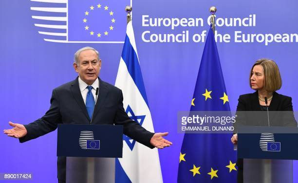 Israel's Prime Minister Benjamin Netanyahu and EU foreign policy chief Federica Mogherini speak during a joint press conference at the European...