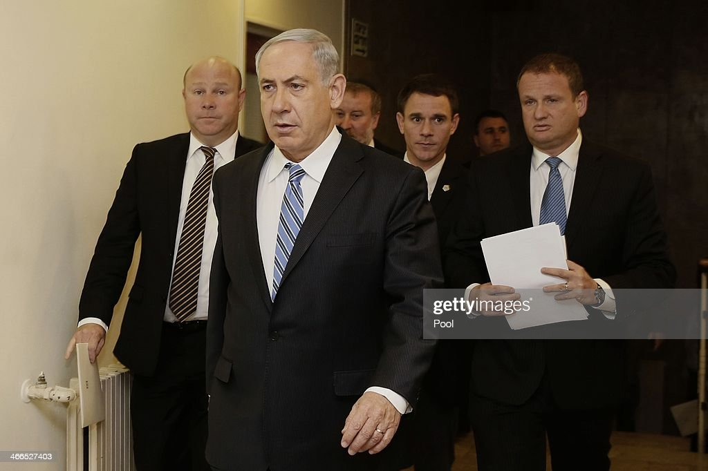Israel's Prime Minister <a gi-track='captionPersonalityLinkClicked' href=/galleries/search?phrase=Benjamin+Netanyahu&family=editorial&specificpeople=118594 ng-click='$event.stopPropagation()'>Benjamin Netanyahu</a> arrives to chair the weekly cabinet meeting on February 2, 2014 in Jerusalem, Israel. Netanyahu discussed issues surrounding talks of boycotting Israel.