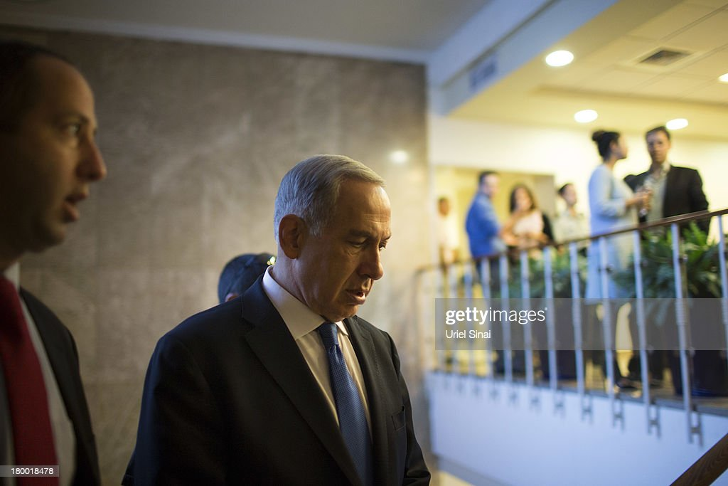 Israel's Prime Minister Benjamin Netanyahu arrives to the weekly cabinet meeting on September 8, 2013 in Jerusalem, Israel.