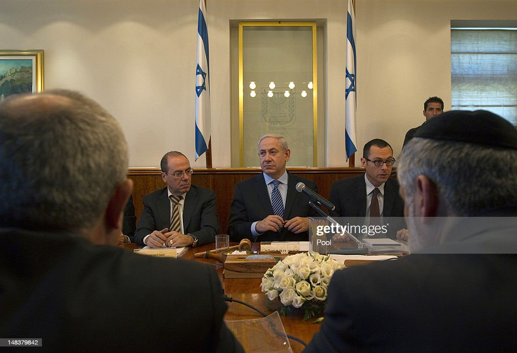 Israel's Prime Minister <a gi-track='captionPersonalityLinkClicked' href=/galleries/search?phrase=Benjamin+Netanyahu&family=editorial&specificpeople=118594 ng-click='$event.stopPropagation()'>Benjamin Netanyahu</a> attends the weekly cabinet meeting on July 15, 2012 in Jerusalem, Israel.