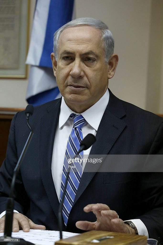 Israel's Prime Minister <a gi-track='captionPersonalityLinkClicked' href=/galleries/search?phrase=Benjamin+Netanyahu&family=editorial&specificpeople=118594 ng-click='$event.stopPropagation()'>Benjamin Netanyahu</a> chairs the weekly cabinet meeting on February 2, 2014 in Jerusalem, Israel. Netanyahu discussed issues surrounding talks of boycotting Israel.