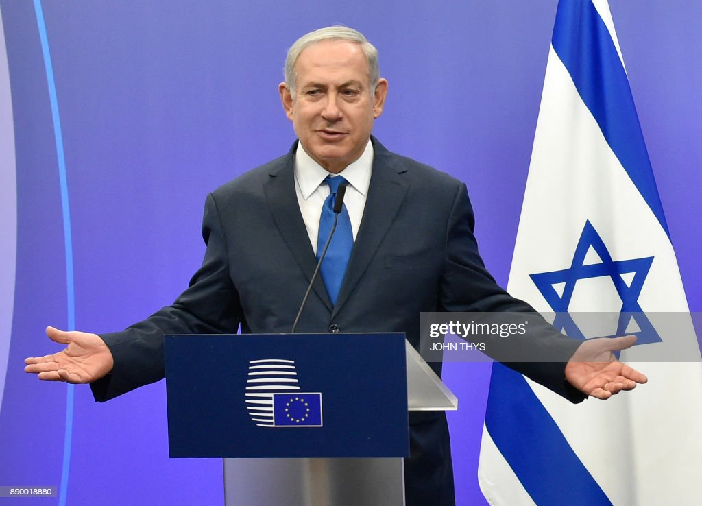 Israel's Prime Minister Benjamin Netanyahu gives  a joint press conference at the European Council in Brussels