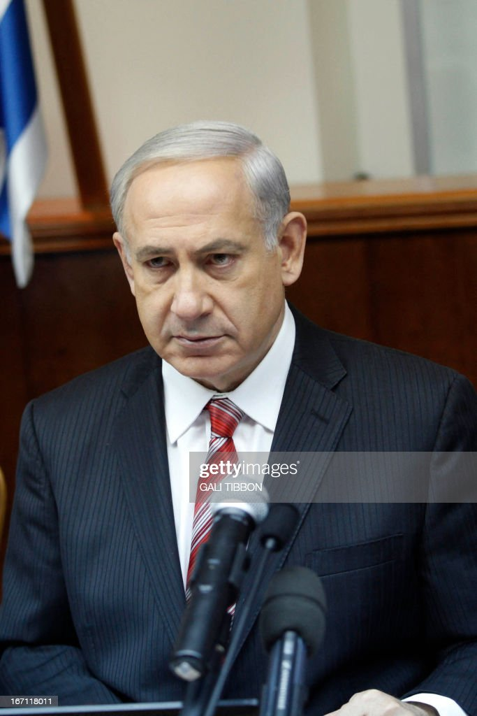 Israel's Prime Minister Benjamin Netanyahu looks on as he leads the weekly cabinet meeting in Jerusalem on April 21, 2013.