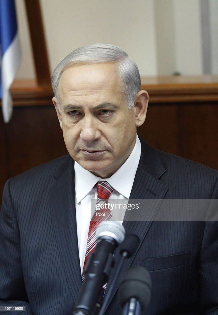 Israel's Prime Minister Benjamin Netanyahu looks on as he leads the weekly cabinet meeting on April 21, 2013. in Jerusalem, Israel. According to reports, Netanyahu vowed to retaliate over the recent rocket attack on the Red Sea resort town of Eilat. U.S. Defense Secretary Chuck Hagel has begun his first visit to Israel, part of a week-long tour of the Middle East, and is due to speak on the issue of Iran amongst other things.