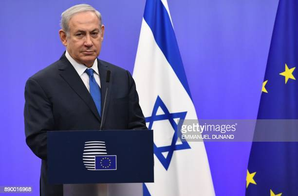 Israel's Prime Minister Benjamin Netanyahu looks on during a joint press conference with the EU foreign policy chief at the European Council in...