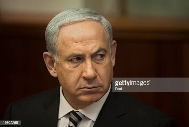 Israel's Prime Minister Benjamin Netanyahu looks on during a weekly cabinet meeting on November 4 2012 in Jerusalem Israel The Israeli military has...