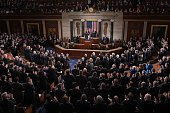 Israel's Prime Minister Benjamin Netanyahu receives a standing ovation as he addresses a joint session of the US Congress on March 3 2015 at the US...