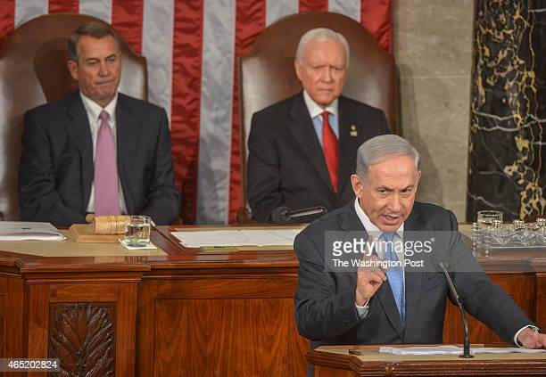 Israel's Prime Minister Benjamin Netanyahu speaks before joint session of Congress on March 2015 in Washington DC