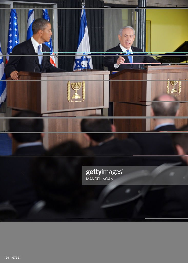 Israel's Prime Minister Benjamin Netanyahu (R) speaks during a joint press conference with US President Barack Obama following a bilateral meeting at the Prime Minister's residence in Jerusalem on March 20, 2013. Obama landed in Israel for the first time as US president, on a mission to ease past tensions with his hosts and hoping to paper over differences on handling Iran's nuclear threat. AFP PHOTO/MANDEL NGAN