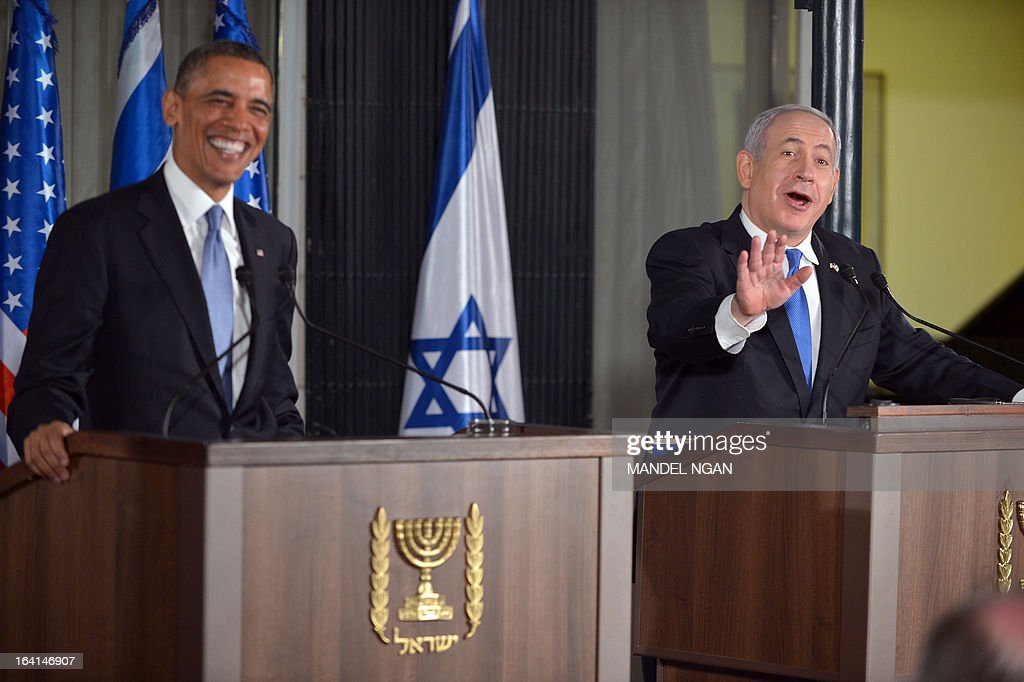 Israel's Prime Minister Benjamin Netanyahu (R) speaks during a joint press conference with US President Barack Obama following a bilateral meeting at the Prime Minister's residence in Jerusalem on March 20, 2013. Obama said Israel and the United States are to 'begin discussions' on extending US military aid to Israel beyond 2017 on his first visit to the Jewish state since taking over the White House.