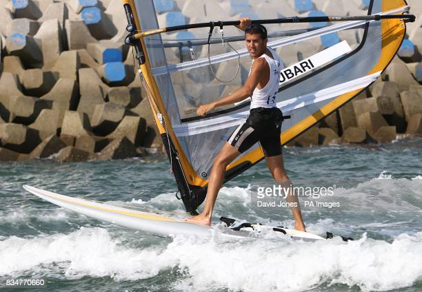 Israel's Shahar Zubari after the final round of his RSX Sailing Competition at the Olympic Games' Sailing Centre in Qingdao on day 12 of the 2008...