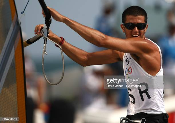 Israel's Shahar Zubari sails in the final round of the Men's RSX Sailing Competition at the Olympic Games' Sailing Centre in Qingdao on day 12 of the...