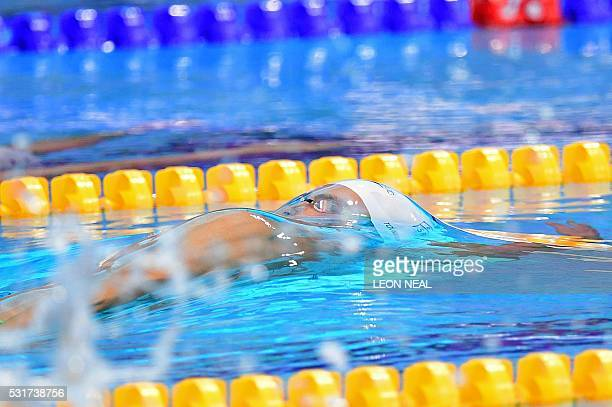 TOPSHOT Israel's Yakov Yan Toumarkin competes in the semifinal of the men's 100m backstroke event on Day 8 of the European aquatics championships in...
