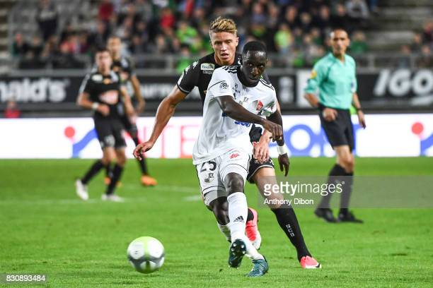 Issa Cissokho of Amiens and Baptiste Guillaume of Angers during the Ligue 1 match between Amiens SC and Angers SCO at Stade de la Licorne on August...