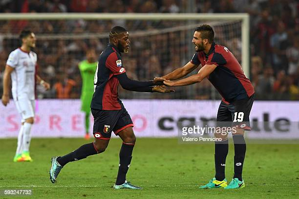 Issa Cissokho of Genoa CFC celebrates his goal with team mate Leonardo Pavoletti during the Serie A match between Genoa CFC and Cagliari Calcio at...