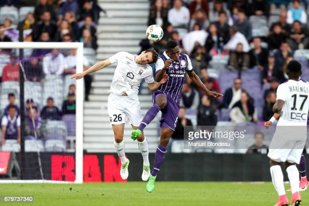 Issa Diop of Toulouse and Ivan Santini of Caen during the Ligue 1 match between Toulouse FC and SM Caen at Stadium Municipal on May 6 2017 in...